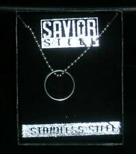 Savior Steel Hanging Ring Necklace 2 glorified Cross cut outs