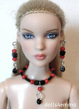 """JEWELRY for 16"""" Tonner CAMI & ANTOINETTE Dolls """"Striking"""" black red NO DOLL d4e"""