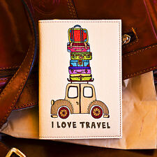 "100% Quality Leather Passport Cover - Holder - Case - ""I love travel"""