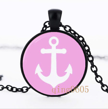 Ancho Nautical Pink and White Glass Dome black Chain Pendant Necklace wholesale