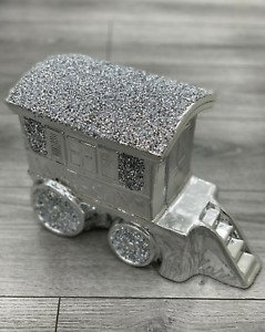 SILVER CRUSHED DIAMOND SPARKLY GYPSY HORSE CARRIAGE WAGON ORNAMENT SITTER BLING✨