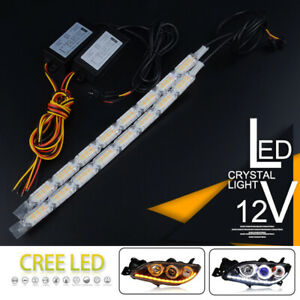 2x Switchback Car Flexible LED Strip Light DRL Sequential Flow Turn Signal Lamp