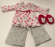 American Girl Cozy Coconut Pajama Set With Red Coconut Slippers