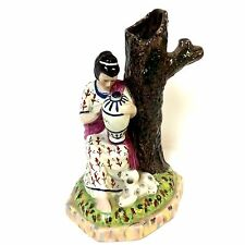 Staffordshire Figurine Spill Vase of Woman with Her Puppy Dog