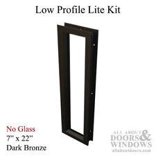 """Commercial Low-Profile Metal Door Lite Frame, 7"""" x 22"""" - Dark Bronze"""