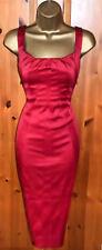 KAREN MILLEN Stunning Red Satin Cocktail Wiggle Dress UK 14  Wedding Races Party