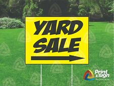 Yard Sale W Arrow 18x24 Sign Coroplast Printed Double Sided With Free Stand