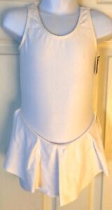 GK ICE FIGURE SKATE GIRLS X-SMALL SLVLS WHITE COTTON/LYCRA TANK DRESS Sz CXS
