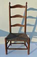 ANTIQUE/PRIMITIVE CHILD LADDERBACK W. WONDERFUL CARVER TURNINGS TOP TIGER GRAIN