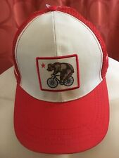 NOS AMGEN TOUR OF CALIFORNIA Grizzly Bear Bicycle SNAPBACK TRUCKER HAT Orange