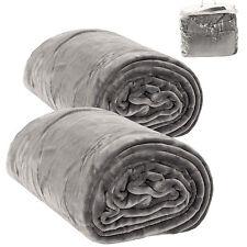 2x Tagesdecke Bettüberwurf Kuscheldecke Schlafdecke 220x240 cm grau Tragetasche