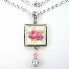 Rose Necklace Broken China Jewelry Pink & Purple Floral Vintage Charm Pendant
