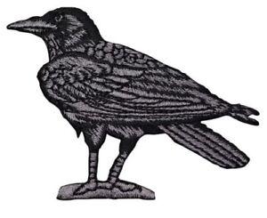"Raven Applique Patch - Bird Facing Left 3"" (Iron on)"