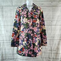 Tara Jarmon for Target Womens Trench Coat Sz Small Pink Blue Floral