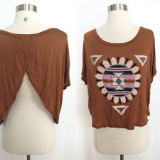 Urban Outfitters cognac southwestern navajo graphic crop top open back sz SMALL