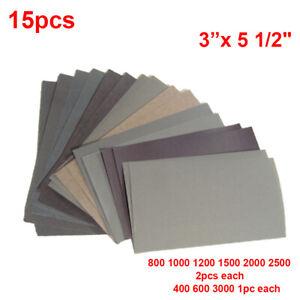 400 600 3000 800 1000 1200 1500 2000 2500 Grit Sandpaper Wet/Dry 15pcs/Set
