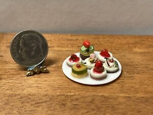 Artisan Plate of Individual Cakes Treats Dollhouse Miniature 1:12