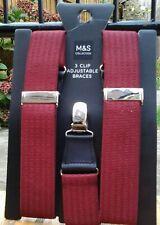 M&S Men's Collection 3 Clip Adjustable Braces Size :1SIZE New