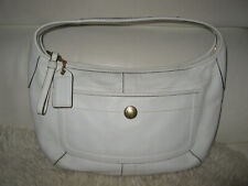 COACH White Crossgrain Leather Handbag with gold hardware