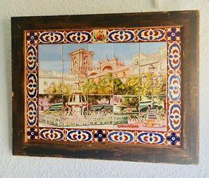 "12.5x16"" Vintage Framed SIGNED Tile Mosaic Granada Spain Plaza City Cathedral"