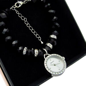 Henley Faceted Bead Black Crystal Bracelet Watch New Boxed H07192.3