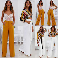 800f644a Womens High Waisted Wide Leg Yoga Flared Pants Loose Palazzo OL Formal  Trousers
