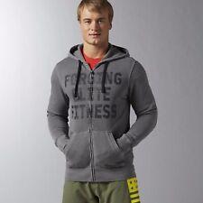 New Men's REEBOK Crossfit Forging Elite Fitness Full Zip Hoodie AJ3500 Grey