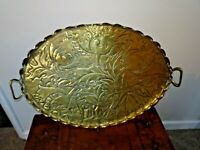 Antique Arts & Crafts Brass Oval Handled Serving Tray with Flower & Leaf Design