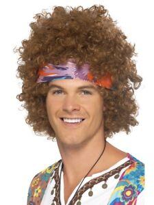 60s Hippie Brown Afro Wig + Headscarf Instant Hippy Fancy Dress
