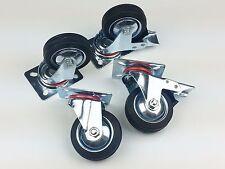 """3"""" Black Rubber HEAVY DUTY, 4 SWIVEL CASTORS (2 with Brakes) Caster Wheel"""