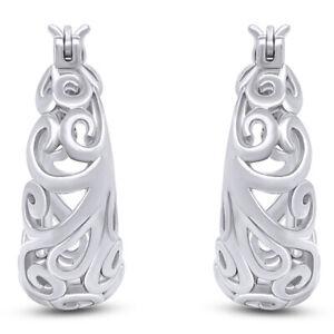 Lovely Design Open Swirls Round Hoop Earrings 14K White Gold Over Sterling