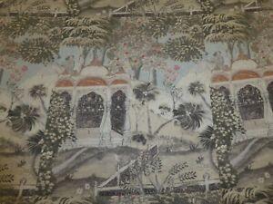 ZOFFANY - PEACOCK GARDEN LINEN SILVER - Linen Cushion Panel Design Fabric