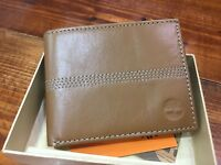 Timberland Sleeker Leather Mens Dark Brown Coin Pocket Wallet New in Box