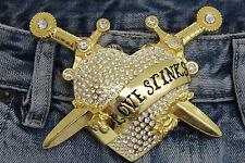 Men Women Big Gold Metal Belt Buckle Heart Western Silver Rhinestone Love Stinks