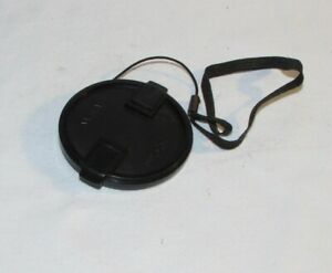 Black 55mm Lens Front Cap Made in Taiwan with keeper string B01630
