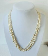 Fresh Water Pearl and 14K 585 Gold Four Strand Necklace Asian Chinese Letters