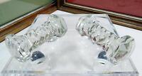 "2 VINTAGE PRESSED GLASS DIAMOND BAR FLAT BELL 3"" KNIFE RESTS"