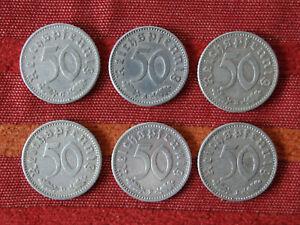 Sammlung- 6 Stück, 50 Reichspfennig 1940 A/B/D/F/G/J