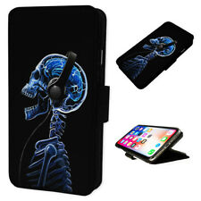 Blue Music Skull - Flip Phone Case Wallet Cover Fits Iphone & Samsung XR S10