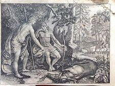 Apollo e Cyparisse ciervos mitología griega aguafuerte XVIII sec Metamorfosis