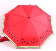 Watermelon Lemon Sun Rain Compact Folding Umbrella Green Ruffles Red Umbrellas
