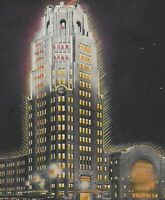 NY Buffalo Central Train Terminal Art Deco Night View Postcard c1935