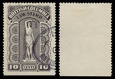 Canada 1933 British Columbia Law Stamp BCL32 10 Cent Gray Used Die I #349A