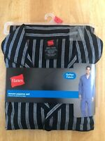 Hanes Woven Mens Size S Small Pajama Set Black With Stripes New 55% Cotton