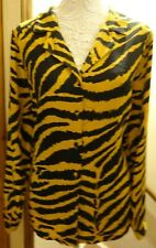 PAPAYA MUSTARD ORANGE/BLACK TIGER PRINT L/S SILKY OVERSIZE BLOUSE 20/22/24 BNWT