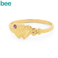 New Classic Engraved Heart Signet With Amethyst 9ct 9k Yellow Gold Ring