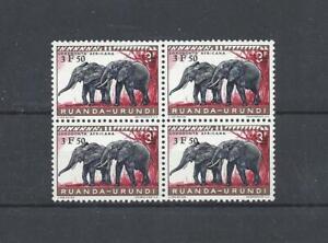 RUANDA-URUNDI (1961 Mi##182 Elephant; OVP 4-Block) MNH SuperB