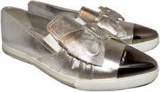 Miu Miu- Prada in pelle Argento Fiocco Skate Scarpe da Ginnastica 40 Punta a