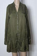 edc by Esprit Tunika Gr. S khaki-grün Hüft Kleid im Military Look mit 40% Seide
