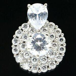 Charming White Sapphire Woman's Party Silver Pendant